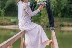 Svatební horolezci polibek fotografování svatby