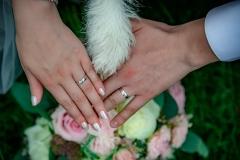psí tlapka na ruce a prsteny