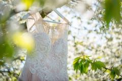 svatební šaty zavěšené na stromě